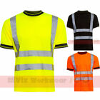 Hi Viz Mens T-shirt Crew Neck Short Sleeve Reflective Work Safety Site Unifom