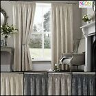 """Pair Of Palmero Pencil Pleat 3"""" header Thermal Curtains in Teal Silver Cream & T"""