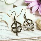 ER2979 Graceful Garden Vintage Style Bronze Tone Four-Leaf Clover Charm Earrings