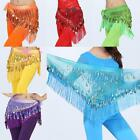 Womens Chiffon Belly Dance Performance Hip Scarf 2 Rows Coin Fringe Belt Skirts