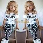 Toddler Baby Girl Outfit Clothes letter T-shirt Tops+Long Pants Trousers 2PC Set
