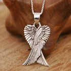 925 Sterling Silver Double Side Angel Wings Pendnat Necklace Handcraft &Gift Box