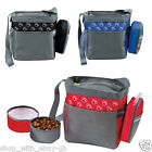 TRAVEL PAW DESIGN PET DOG SHOULDER BAG & 2 COLLAPSIBLE FEEDING FOOD/WATER BOWLS