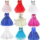 New Girl Sequin Dress Flower Sleeveless Formal Party Wedding Bridesmaid Age 2-8Y