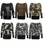 New Womens Printed Long Sleeve Baggy Batwing T Shirt Top Ladies Party Dress Top