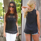 Fashion Women Summer Vest Sleeveless Lace Cotton Blouse Casual Tank Tops Shirt