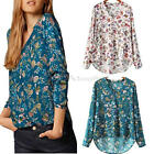 Fashion Women Summer V Neck Casual Long Sleeve Flowers Print T-shirt Top Blouse