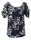 New Ladies Vintage Style Retro 1930's 40's Wartime Navy Floral Tie Back Blouse