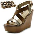 Ollio Womens Shoes Vintage Burnished Wedges Cross Straps Sandals