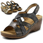 Ollio Women's Shoes Suede Velcro Strappy Wedges Sandals