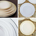 "Plastic 9"" ROUND PLATES with Trim Party Wedding Catering Disposable TABLEWARE"