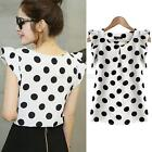 Women's Fashion Casual Loose Chiffon Crew Neck Tee Shirts Tops Blouse Korean