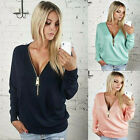 Womens Pullover Tops Ladies Fashion V-Neck Long Sleeve Blouse Zip Up Clothing