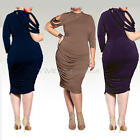 Plus Size Women Lady Long Sleeve Side Ruched Bodycon Party Cocktail Short Dress