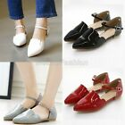 Womens Patent Pointed Toe Ankle Strap Flat Mary Jane Pumps Shoes Plus Size M60