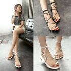 Ladies Summer New Toe Loop Strappy Flat Gladiator Sandals Shoes Black/White A90
