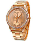 Luxury Women Crystal Gold Stainless Steel Casual Analog Quartz Dress Wrist Watch