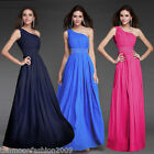 One Shoulder Formal Long Evening Party Ball Gown Prom Bridesmaid Dress Size 8-16