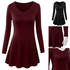 New Style Women Basic Designed V-Neck Long Sleeve Flare Tunic Top