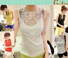 Women Sexy Lace Floral Sleeveless Tops T-shirt Tee Tank Vest Blouses with Button