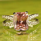 Women's Fashion Gifts Emerald Cut Pink & White Topaz Gemstone Silver Ring Size 7