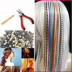 16'40cm Women Long Straight Grizzly Micro Loop Ring Feather Hair Extensions
