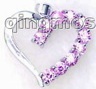 SALE Big 25mm Heart Shape with Pink crystal silver plated pendants-pen66