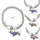 Crystal Rhinestone Puppy Dachshund Dog Charm Bracelet PU Leather Chain Fashion