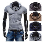 Men's Muscle Tops Slim Fit Casual T-shirts Polo Shirt Long Sleeve Tee Hoodie New