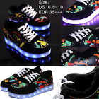 New Unisex LED Flats Scrawl Luminous Sneaker Breathable Board Lace Up Cool Shoes