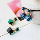 Fashion Charming Square Shaped Crystal Cubic Earrings Ear Stud