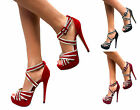 WOMENS STILETTO HIGH HEEL ANKLE CUFF STRAP PLATFORM SANDALS PEEP TOE SHOES SIZE