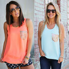 New Ladies Chiffon Tank Top Sleeveless T-shirt Vest Summer Blouse Tops Size 6-18