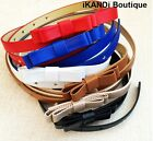 Ladies Womens Girls Candy Fashion PU Leather Waist Skinny Thin Bow Buckle Belt