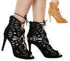 New Womens Lace Up Peep Toe Caged Laser Cut Out Stiletto Ladies High Heel Sandal