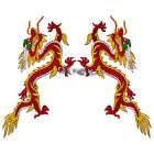 Red Yellow Dragon Embroidered Patch Badges Sew Iron on Patches Applique 15*34 cm