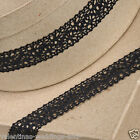 Full Roll Cotton Lace Ribbon 25mm x 10m - Black - Vintage Wedding, Cards, Sewing