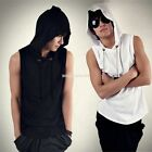 Fashion Men Sleeveless Korean Beach Hooded Casual Hoodie Cap Shirts Tops T-shirt