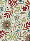 Ivory Transitional Floral Daisy Area Rug Multi-Color Leaves Casual Vines Carpet