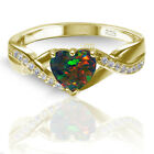 18k Yellow Gold Plated Heart Cut Black Fire Opal Infinity Celtic Ring