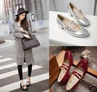 Womens Patent Double Buckle Strap Mary Jane Block Mid Heel Pumps Shoes