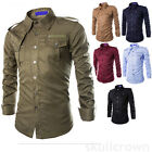 Men's Stylish Long-Sleeved Cargo Shirt Slim Fit Military Double Pocket Shirt