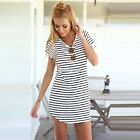 Mini Women Sundress Short Sleeve Stripe Long Tops T Shirt Tee Beach Dress S0BZ