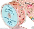 Full Roll Wired Edge Polka Dot Floral Ribbon x 10m - Pink Craft Vintage Wedding