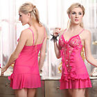 Ladies Sexy Ruffled Lingerie Babydoll Dress Sheer Red Chemise Nighty XS S M 4-10
