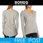 BONDS Womens White Marle Sloppy Long Sleeve Drop Back Hem Top Jumper Pullover
