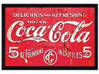 New Black Wooden Framed Coca Cola Delicious & Refreshing Poster