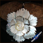 Vintage Carved Natural Mother of Pearl Sea Shell Gemstone Pendant Necklace BKL11