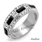 WOMEN'S BLACK & CLEAR CZ STAINLESS STEEL ETERNITY WEDDING FASHION RING SIZE 5-10