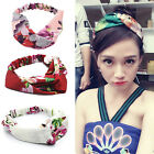 Elastic Printed Turban Twisted Knotted Headband Silk flower Hair accessories